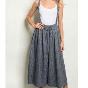 Pants - Denim Print Wide Leg Jumpsuit